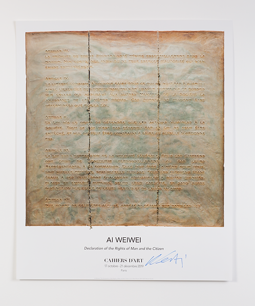 """Affiche signée """"Declaration of the Rights of Man and the citizen"""" Ai Weiwei"""