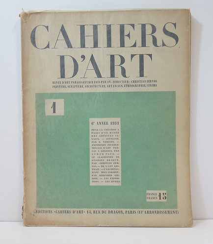 Revue Cahiers d'Art. 1931. n°1.