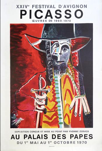 Affiche exposition Picasso. Palais des Papes. 1970.