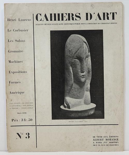 Revue Cahiers d'Art. mars 1926. Numéro 3.