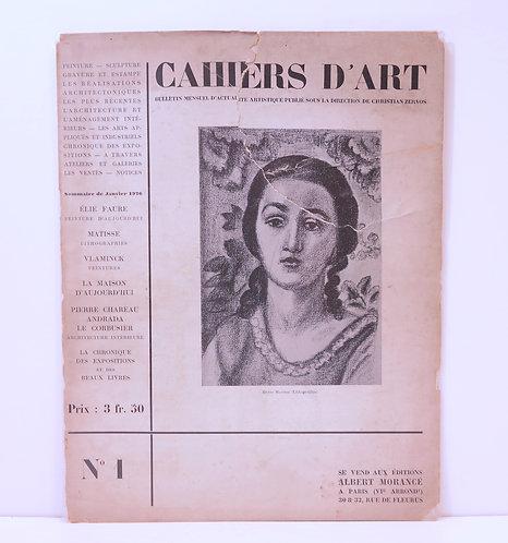 Revue Cahiers d'Art. 1926. 1er numéro.