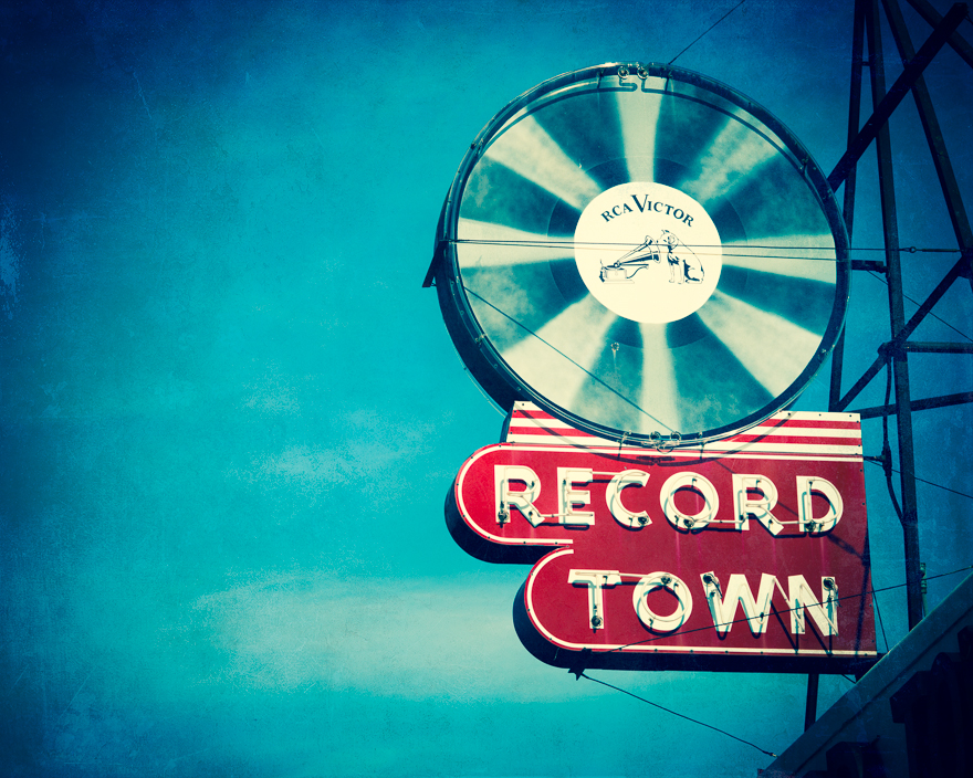 Record Town Neon Sign fine art print