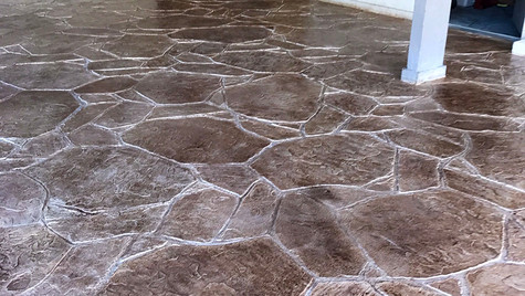 A Community Pool Facility with Arizona Flagstone Pattern Stamped Concrete Overlay