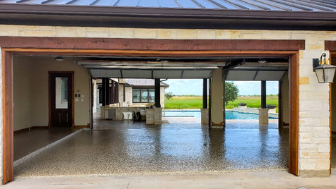 A Garage Floor System with an Epoxy Coating and Decorative Flakes