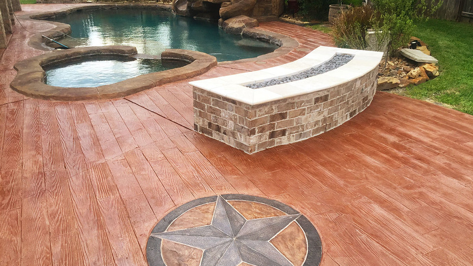 A Custom Medallion Stamp Design around this Backyard Poolside Paradise