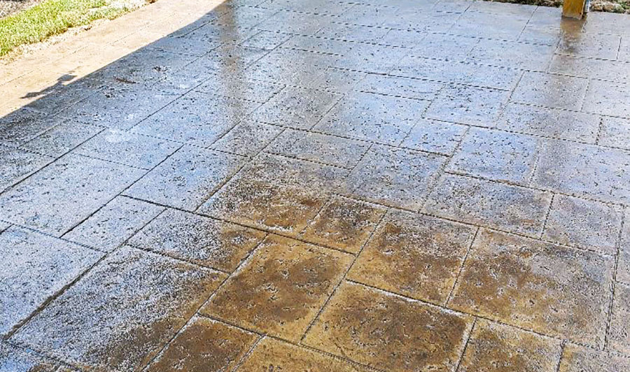 A Random Slate Pattern Fresh Stamped Concrete over an Outdoor Patio Space