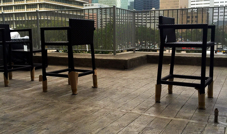 A Stamped Concrete Overlay with a Wood Plank Pattern in Downtown, Houston on a Highrise Patio