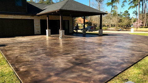 A Dreamy Driveway with a Stained Skim Coat Concrete.