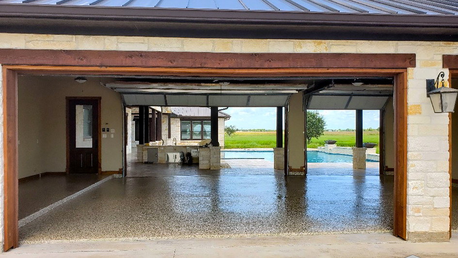 An Epoxy Specialty Coating with Decorative Flakes over this Garage Floor System