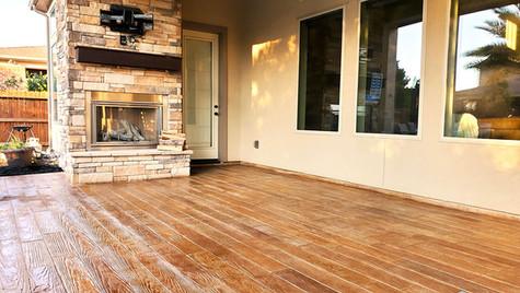 A Beautiful Backyard Patio in a Wood Plank Pattern
