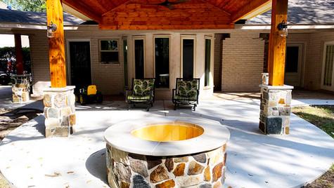 A New Concrete Pour Patio in a Fun Circular Design