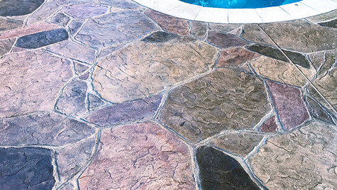 Poolside with an Arizona Flagstone Pattern Stamped Concrete Overlay