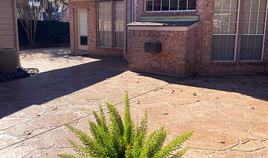 A Stamped Concrete Overlay in a Beautiful Natural Beige Arizona Flagstone Pattern over this Patio