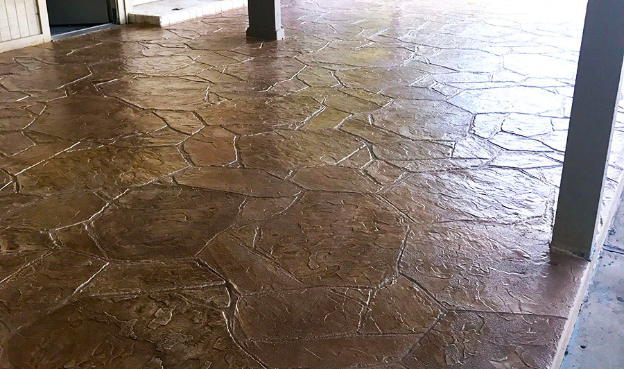 A Stamped Concrete Overlay in an Arizona Flagstone Pattern at this Community Pool Facility