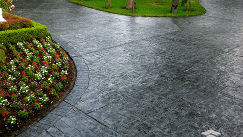 A Driveway with a Stamped Overlay with Random Slate Pattern