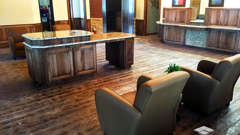 A Community Bank with Wood Plank Pattern Stamped Concrete Overlay