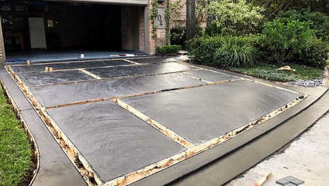A Driveway with a New Concrete Pour