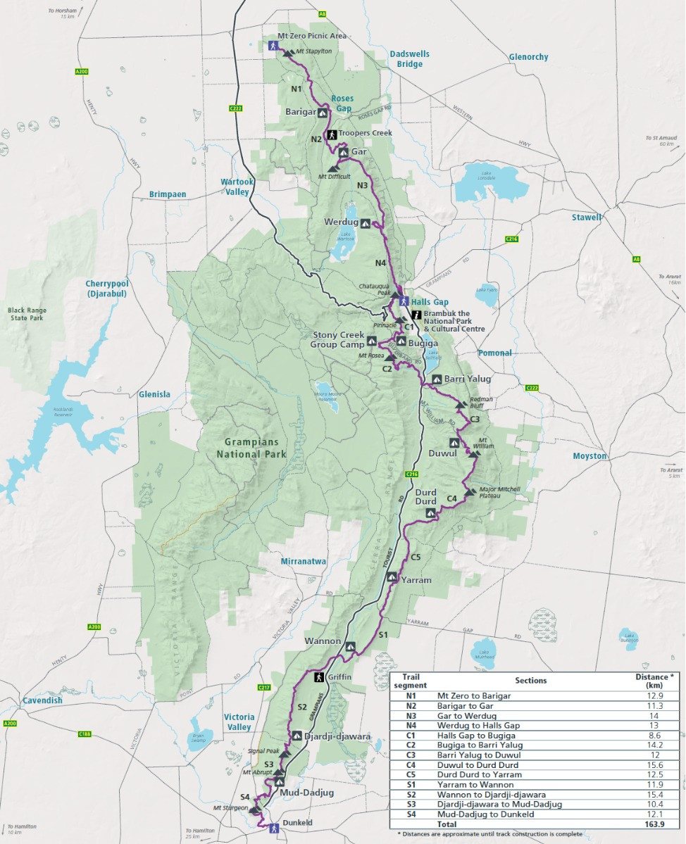 Grampians Peaks Trail full project map