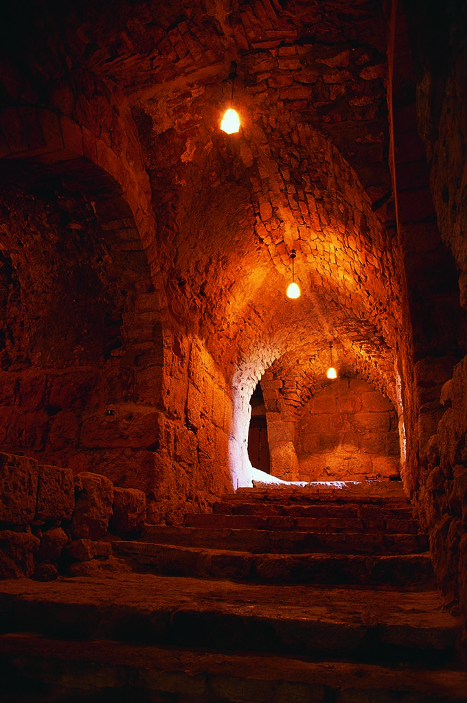 Lights inside of Ajloun Castle