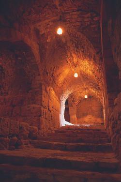Lights inside of Ajloun Castle