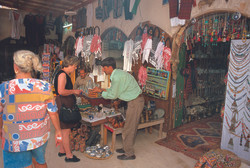 Tourists shopping in Jerash