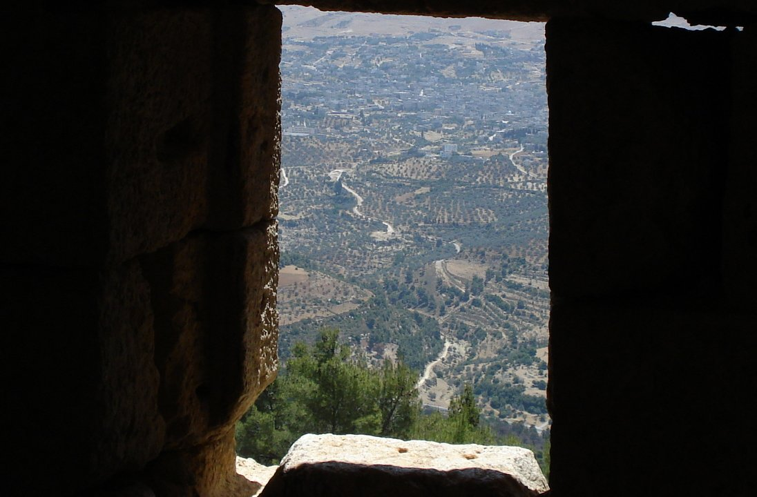 view from the window of Ajlun Castle