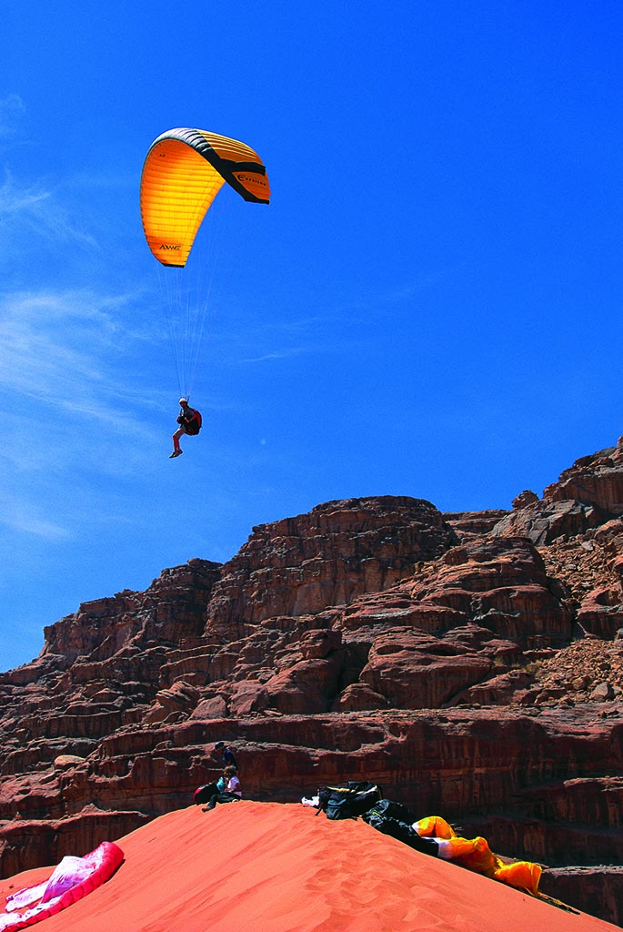 Parachuting in Wadi Rum