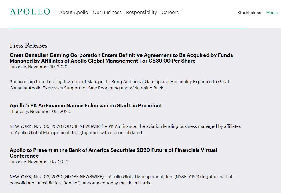 Apollo Press Releases