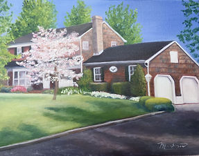 Oil painting of a single family home in Chester, NJ
