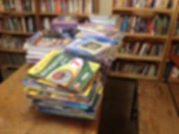Books in community library in Korogocho