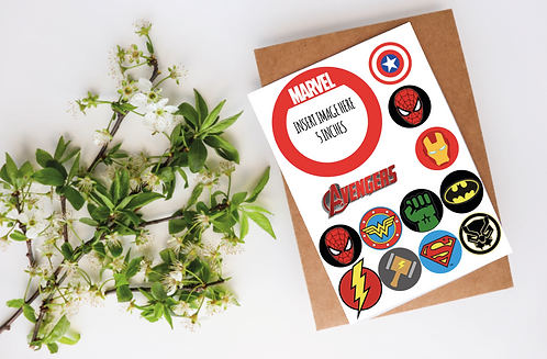 Edible Marvel Cupcake Toppers