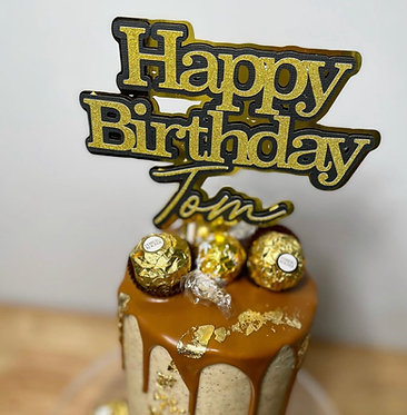 Triple Layered Personalised Happy birthday Topper