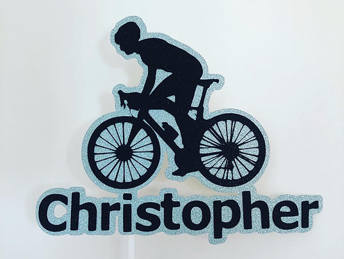 Personalised cyclist cake topper
