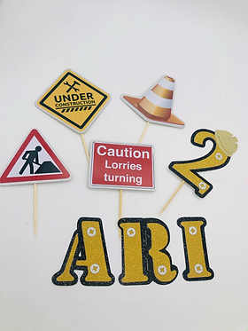 Construction cake charms and mini  toppers