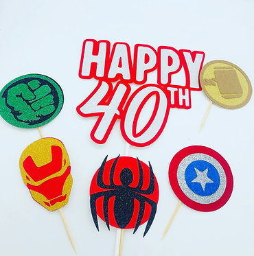Marvel inspired cake topper set