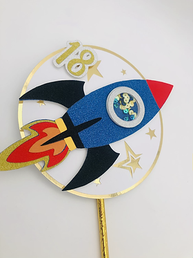 Space rocket cake topper with mini shaker