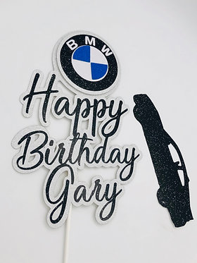3D BMW car themed cake topper with silhouette