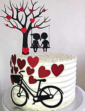 Lovers on swing cake topper set