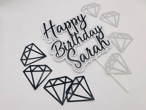 Three tier cake topper and diamonds