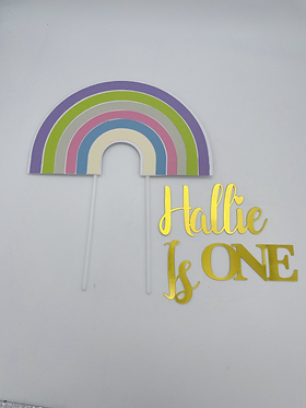 Rainbow Topper with cake charm