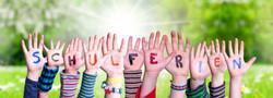 Children Hands Building Schulferien Means School Holidays, Grass Meadow