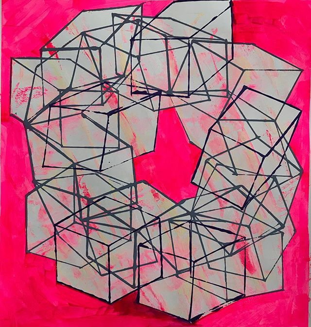 Pink Punch, 2017_Acrylic on paper 18x18