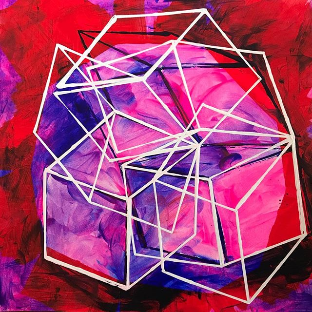 "Spin Ruby, 2017  acrylic on paper 12x12""_#geometry #abstract #artwork #paper #painting #lowereastsid"