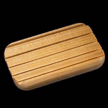 Seifenablage aus Birnbaumholz gerundet hellbraun