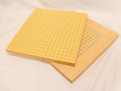 碁盤 新かや材(スプルス材)1寸卓上盤表面19路裏面13路両面盤