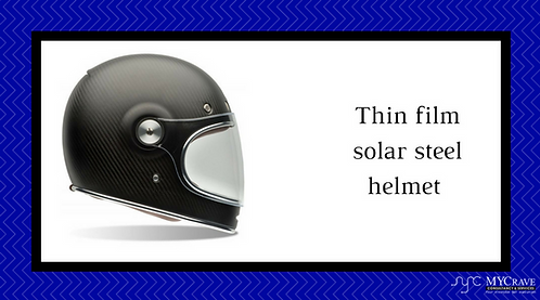 Thin Film Solar Steel Helmet