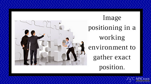 Image positioning in a working environment to gather exact position.