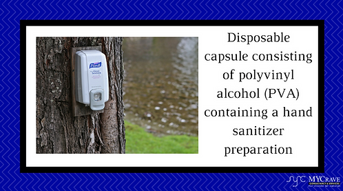 Disposable capsule consisting of polyvinyl alcohol a hand sanitizer preparation