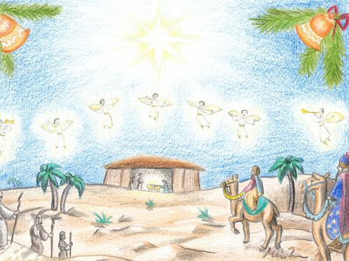 Første jul i Betlehem kort