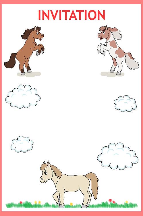 Pony invitation rød